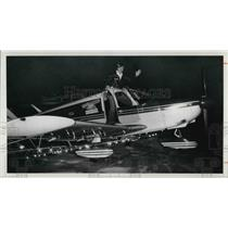 1976 Press Photo Bryan D Kolleda with His Plane with Lights on Wings