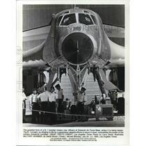 1988 Press Photo B-1 bomber towers at Edwards Air Force Base