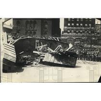 1918 Press Photo British Tanks Brittania destroyed in Cleveland Ohio.