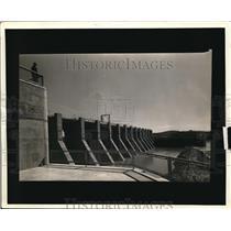 1938 Press Photo Downstream face of the spillwar at TVA's Chickamaga Dam.