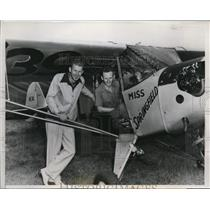 1939 Press Photo Humphrey and Hunter Moody in their monoplane at Springfield