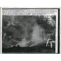 1959 Press Photo Smoking wreckage of an Air National Guard Jet