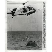 1972 Press Photo Tom Mattingly, Apollo 16 Crewman lifted from a Command Module.
