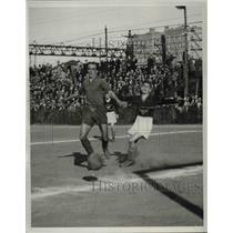 1933 Press Photo Watson about to kick the ball