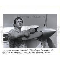 1992 Press Photo Mike Frank, Vancouver Aviation president, contemplates