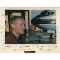 1996 Press Photo Tomas Dolleris with an airplane behind him - ora19943