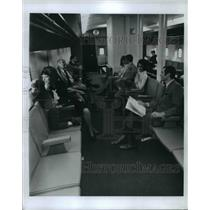 1970 Press Photo People sitting at an airport waiting area