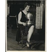 1929 Press Photo Beatrice Gould Hols 101st Engineers Football Trophy