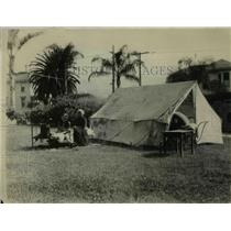 1925 Press Photo Refugee tent pitched on city hall lawn after an earthquake