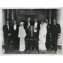 1934 Press Photo F Hawks, Maj GEn B Foulois, Col & Mrs Doherty, Col Young