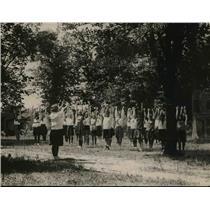 1920 Press Photo YWCA girls at camp exercises at Rock Creek