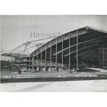 1959 Press Photo Worlds Largest Hanger Under Construction Frankfurt Airport