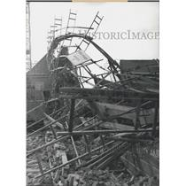 1960 Press Photo Broken Wall & Scaffolding Caused By Jet