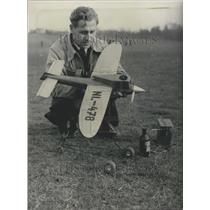 1955 Press Photo Model Plane at International Model Flying Week in Braunschweig
