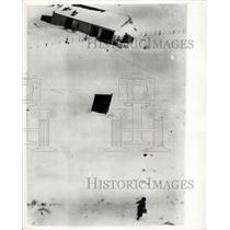 1955 Press Photo Food dropped by Helicopter to snowed in Scottish people