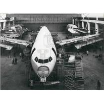1971 Press Photo Fuselage of Airbus A 300 B on Assembly Line at Airbus Industrie
