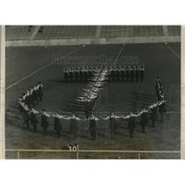 "1928 Press Photo Temple University Gymnasts Form Letters ""T U"""