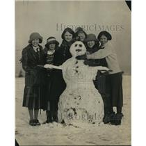 1923 Press Photo Snowman Built by Maryland State University Students