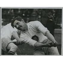 1922 Press Photo British Policeman Pulling Rope During Tug-of-War