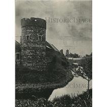 1918 Press Photo Zons am Rhein Germany, Feitungsmauer & Stadtgraben