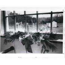 1991 Press Photo Window of Christmans Decorations at Hale Farm and Village