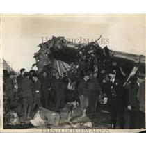 1935 Press Photo Transport Plane Crash Wreckage, Bishop Airport Flint Michigan