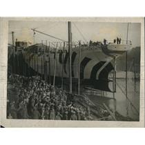 1918 Press Photo Launch of the First National Standard Ship