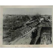 1937 Press Photo Freight Train Car Derailment, New York New Haven Hartford