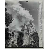 Press Photo Fort Leavenworth Kansas Pope Hall on Fire