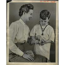 1956 Press Photo Adhesive Bandage Bandaid with Playtime Pictures for Children