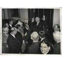 1933 Press Photo Postmaster General James Farley Claims No More Jobs - nee01512