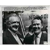 1960 Press Photo Stuart Symington and Quentin Burdick meet at airport in Fargo