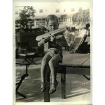 1935 Press Photo Boy Jack Reiber with Life Preserver at Florida Pool