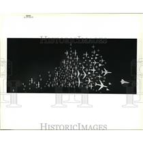 1986 Press Photo Airplanes Models, this panorama of scale model airplanes greets