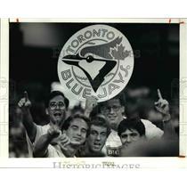 1992 Press Photo The Toronto fans with a blue jays emblem