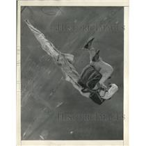 1930 Press Photo Ralph La Pere deploys parachute during a air race in Chicago