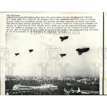 1966 Press Photo Barrage Defense Balloons Fly Over London