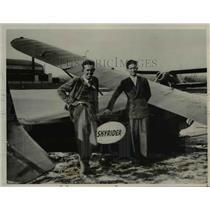 "1936 Press Photo Pilots Bob Buck, Lee Bellingrath, Plane ""Skyrider"""
