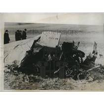 1934 Press Photo Wreckage of Army Plane Which Killed Lt. T.A. A. Wood