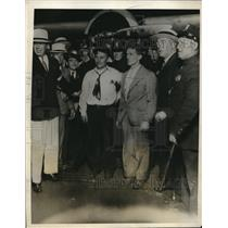 "1931 Photo aviator Harold Gatty & crew pose with plane ""Winnie Mae"" NY"