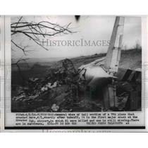 1956 Press Photo Tail Section Of TWA Plane That Crashed After Crash