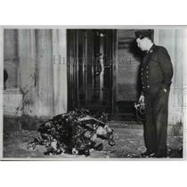 1946 Press Photo Fireman Examines Wreckage Two Motored Army Plane Fell To Street