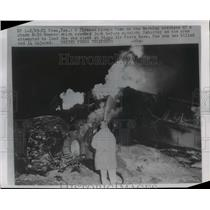 1954 Press Photo Fireman Sprays Foam On Burning Wreckage Giant B-36 Bomber