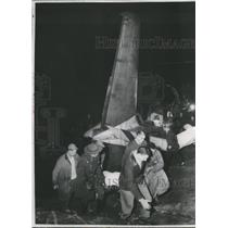1956 Press Photo Rescue Workers Carry Body from Plane Crash Wreckage, Pittsburgh