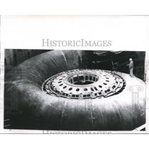 1962 Press Photo Steel spiral to channel water into power generator of Oahe Dam
