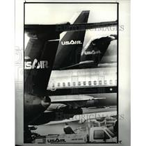1988 Press Photo USAir planes lined up for loading and unloading at the gates