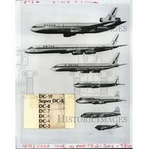 1971 Press Photo Airplaine DC-3 to DC-10