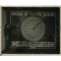 1923 Press Photo message sign from Cleveland Safety Council Safe Drivers Club