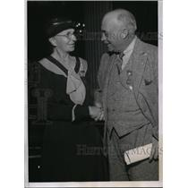 1935 Press Photo Charles M. Hawks, Father of Aviator Frank, Mary C. Miller