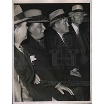 1935 Press Photo Yankees owner Jacob Ruppert, mgr Joe McCarthy, Baer-Louis bout